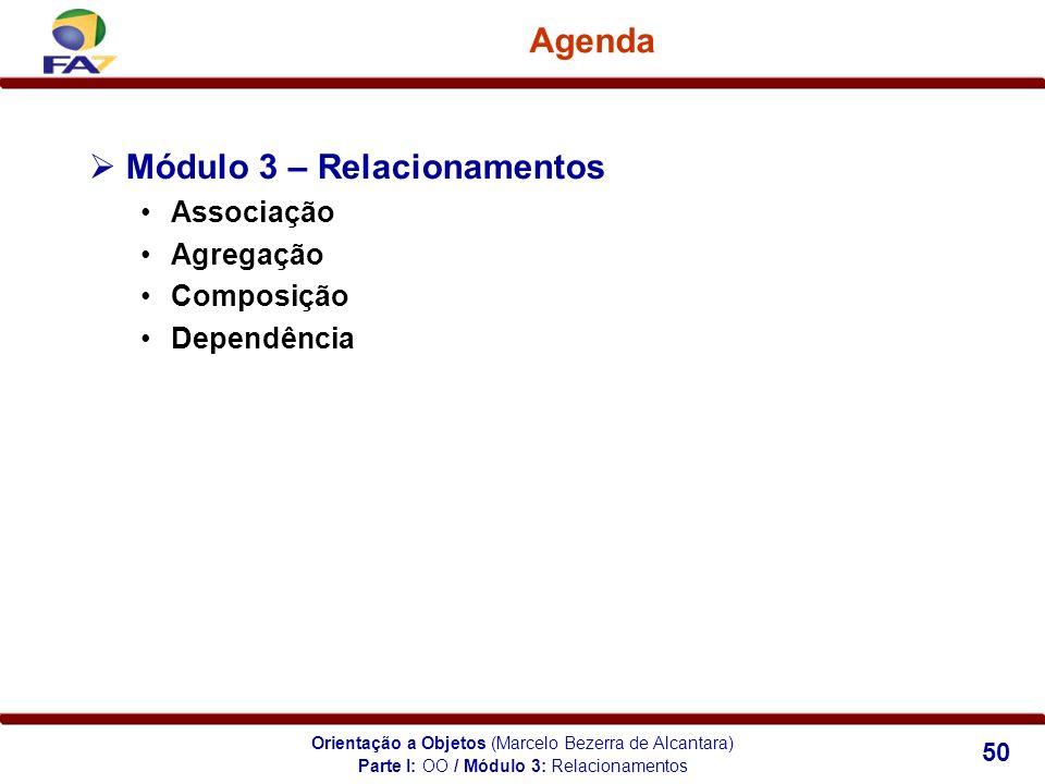 Orientação a Objetos (Marcelo Bezerra de Alcantara) 50 Agenda Módulo 3 – Relacionamentos Associação Agregação Composição Dependência Parte I: OO / Mód