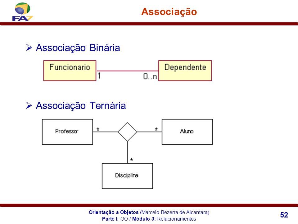 Orientação a Objetos (Marcelo Bezerra de Alcantara) 52 Associação Associação Binária Associação Ternária Parte I: OO / Módulo 3: Relacionamentos
