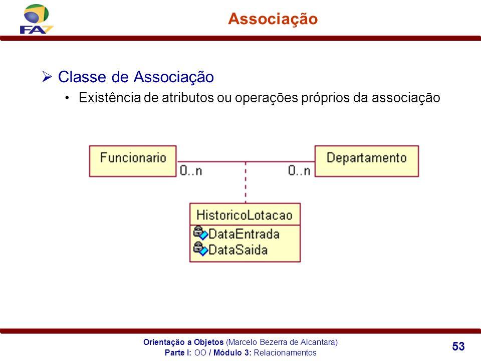Orientação a Objetos (Marcelo Bezerra de Alcantara) 53 Associação Classe de Associação Existência de atributos ou operações próprios da associação Par