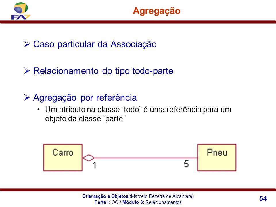Orientação a Objetos (Marcelo Bezerra de Alcantara) 54 Agregação Caso particular da Associação Relacionamento do tipo todo-parte Agregação por referên