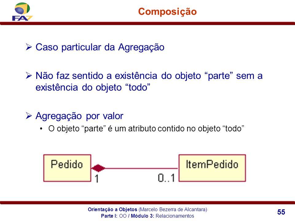 Orientação a Objetos (Marcelo Bezerra de Alcantara) 55 Composição Caso particular da Agregação Não faz sentido a existência do objeto parte sem a exis