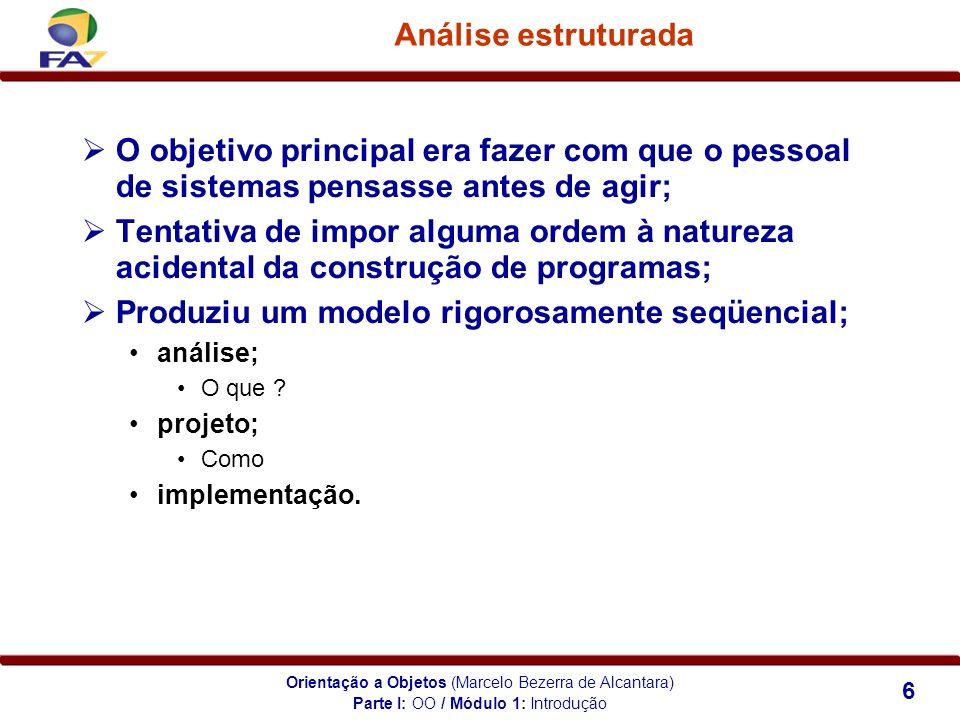 Orientação a Objetos (Marcelo Bezerra de Alcantara) 6 Análise estruturada O objetivo principal era fazer com que o pessoal de sistemas pensasse antes