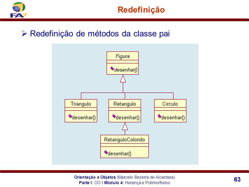 Orientação a Objetos (Marcelo Bezerra de Alcantara) 63 Redefinição Redefinição de métodos da classe pai Parte I: OO / Módulo 4: Herança e Polimorfismo