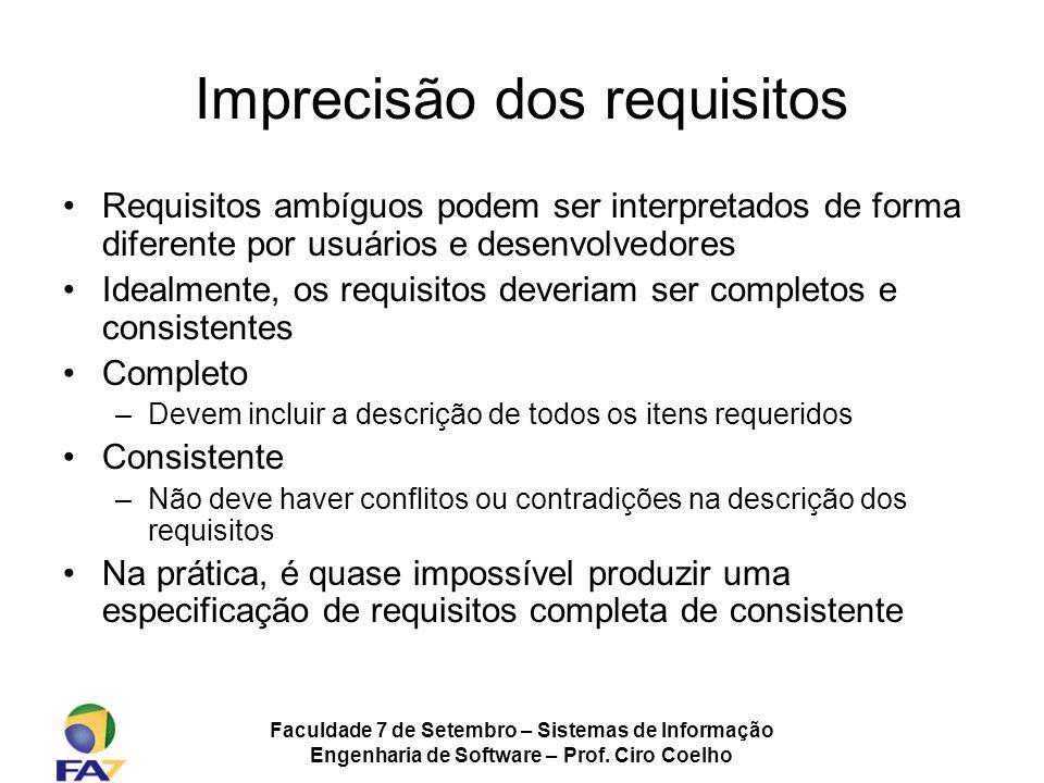 Faculdade 7 de Setembro – Sistemas de Informação Engenharia de Software – Prof. Ciro Coelho Imprecisão dos requisitos Requisitos ambíguos podem ser in