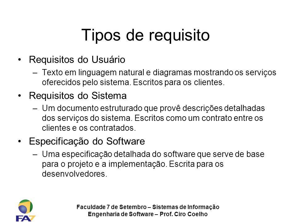 Faculdade 7 de Setembro – Sistemas de Informação Engenharia de Software – Prof. Ciro Coelho Tipos de requisito Requisitos do Usuário –Texto em linguag