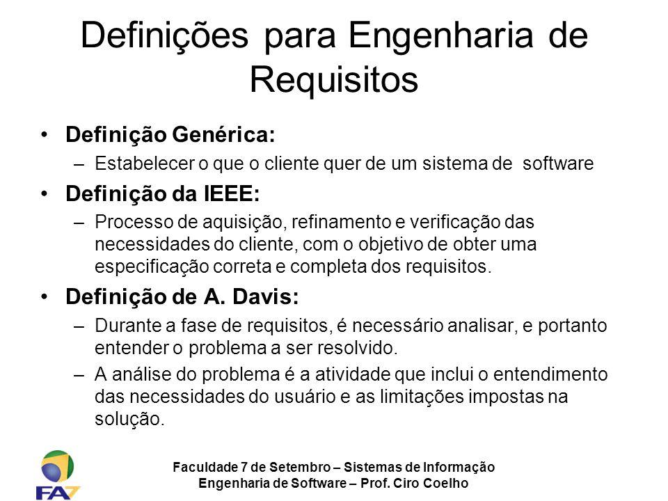 Faculdade 7 de Setembro – Sistemas de Informação Engenharia de Software – Prof. Ciro Coelho Definições para Engenharia de Requisitos Definição Genéric