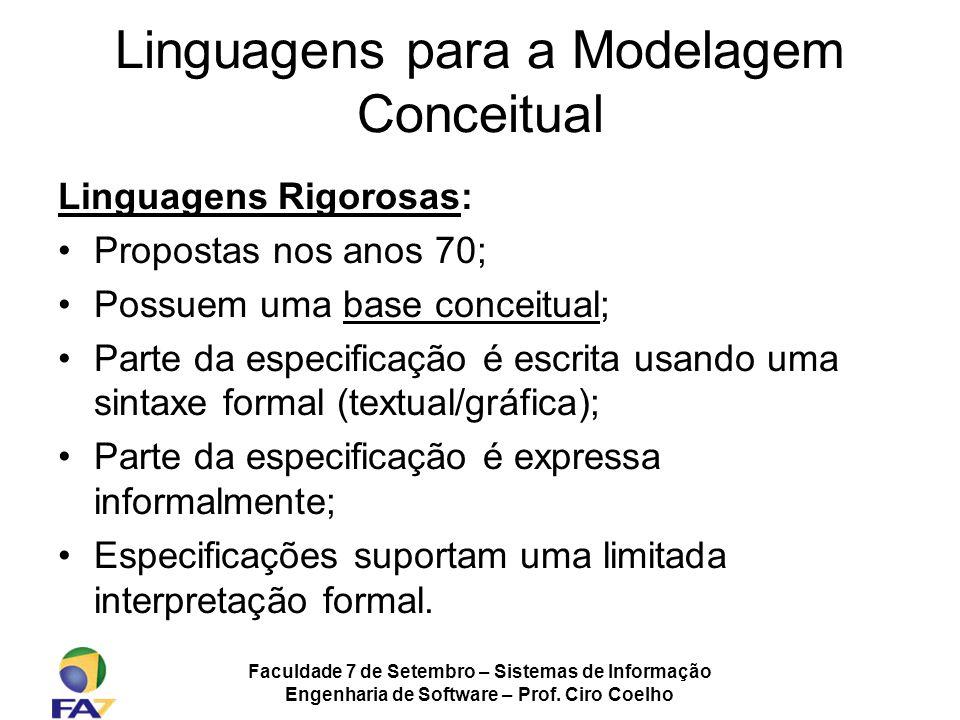 Faculdade 7 de Setembro – Sistemas de Informação Engenharia de Software – Prof. Ciro Coelho Linguagens Rigorosas: Propostas nos anos 70; Possuem uma b