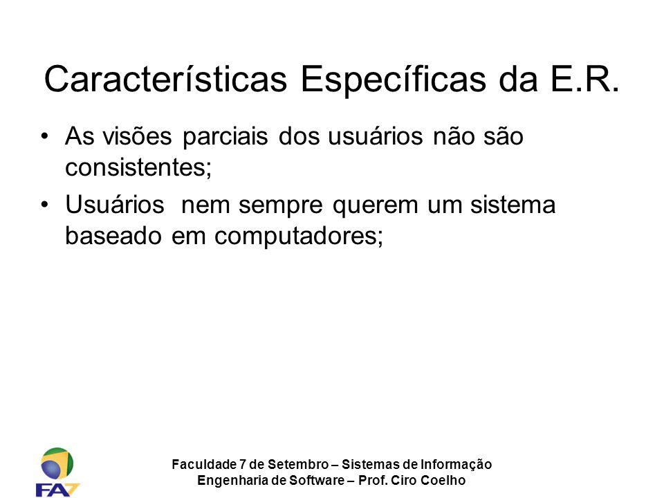 Faculdade 7 de Setembro – Sistemas de Informação Engenharia de Software – Prof. Ciro Coelho Características Específicas da E.R. As visões parciais dos