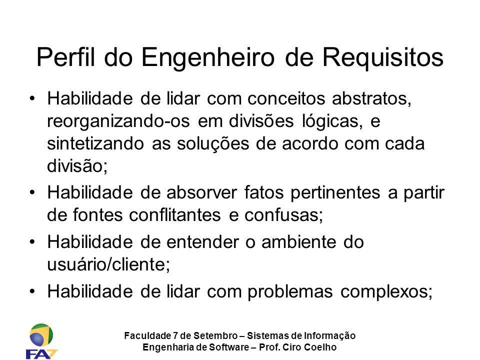Faculdade 7 de Setembro – Sistemas de Informação Engenharia de Software – Prof. Ciro Coelho Habilidade de lidar com conceitos abstratos, reorganizando