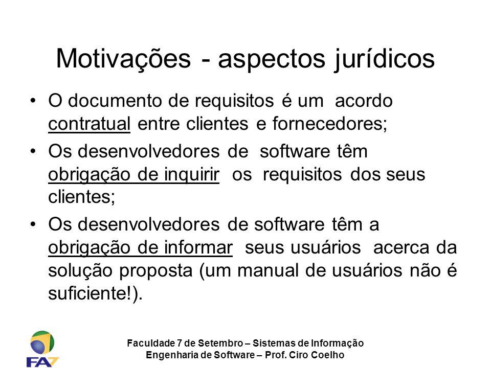Faculdade 7 de Setembro – Sistemas de Informação Engenharia de Software – Prof. Ciro Coelho O documento de requisitos é um acordo contratual entre cli