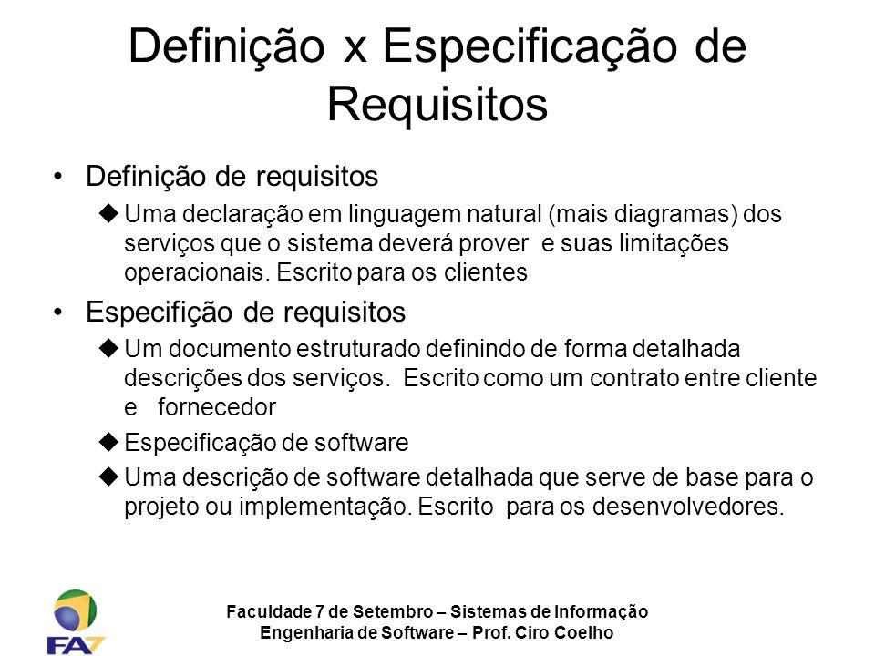 Faculdade 7 de Setembro – Sistemas de Informação Engenharia de Software – Prof. Ciro Coelho Definição x Especificação de Requisitos Definição de requi