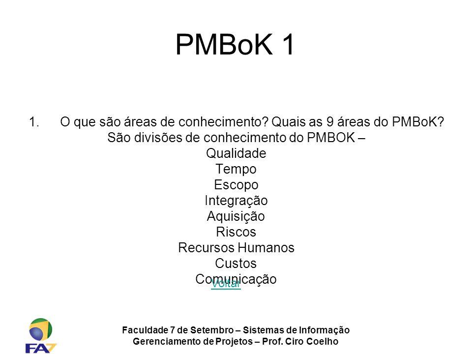 Faculdade 7 de Setembro – Sistemas de Informação Gerenciamento de Projetos – Prof. Ciro Coelho PMBoK 1 1.O que são áreas de conhecimento? Quais as 9 á