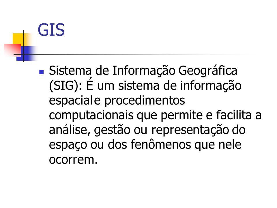 GIS Sistema de Informação Geográfica (SIG): É um sistema de informação espaciale procedimentos computacionais que permite e facilita a análise, gestão