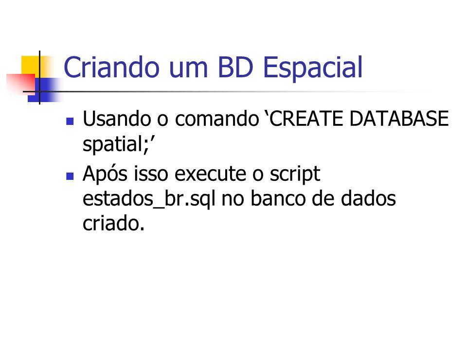 Criando um BD Espacial Usando o comando CREATE DATABASE spatial; Após isso execute o script estados_br.sql no banco de dados criado.