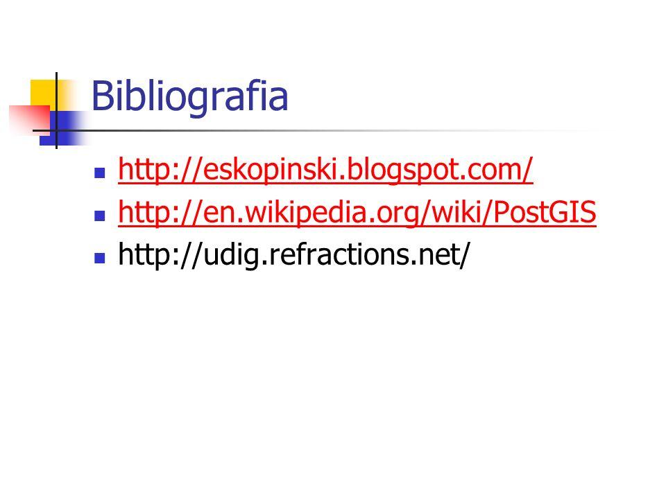 Bibliografia http://eskopinski.blogspot.com/ http://en.wikipedia.org/wiki/PostGIS http://udig.refractions.net/