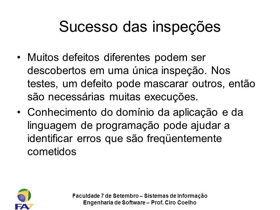 Faculdade 7 de Setembro – Sistemas de Informação Engenharia de Software – Prof. Ciro Coelho Sucesso das inspeções Muitos defeitos diferentes podem ser