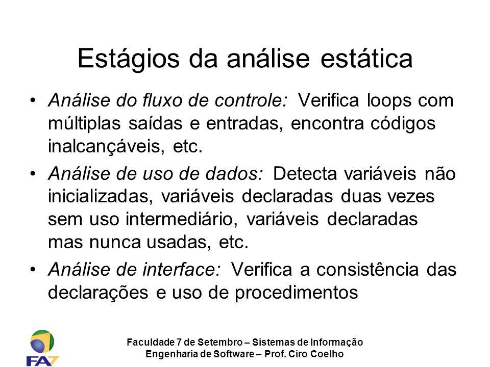 Faculdade 7 de Setembro – Sistemas de Informação Engenharia de Software – Prof. Ciro Coelho Estágios da análise estática Análise do fluxo de controle: