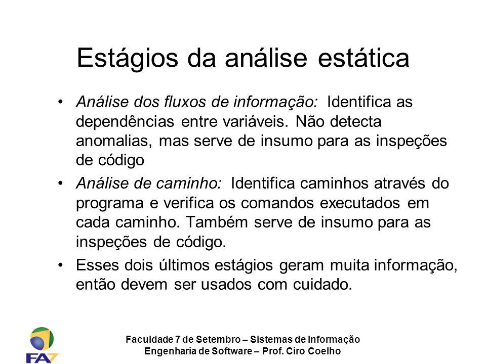 Faculdade 7 de Setembro – Sistemas de Informação Engenharia de Software – Prof. Ciro Coelho Estágios da análise estática Análise dos fluxos de informa