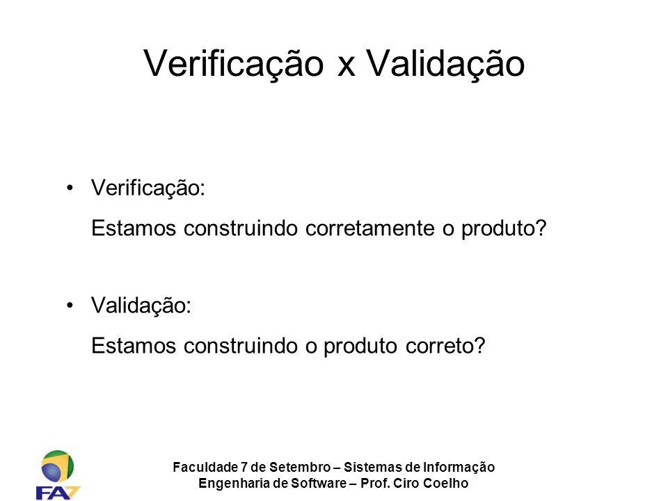 Faculdade 7 de Setembro – Sistemas de Informação Engenharia de Software – Prof. Ciro Coelho Verificação x Validação Verificação: Estamos construindo c