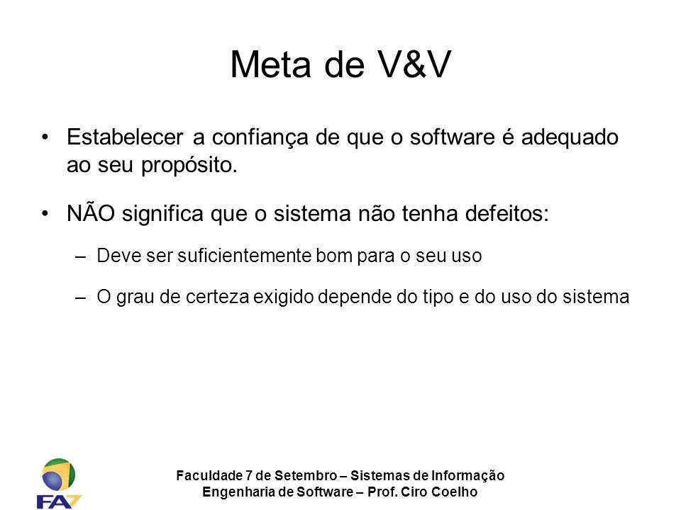 Faculdade 7 de Setembro – Sistemas de Informação Engenharia de Software – Prof. Ciro Coelho Meta de V&V Estabelecer a confiança de que o software é ad