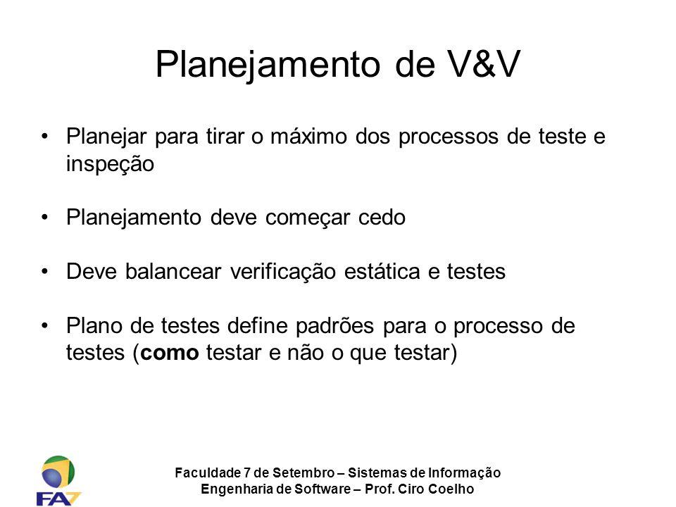 Faculdade 7 de Setembro – Sistemas de Informação Engenharia de Software – Prof. Ciro Coelho Planejamento de V&V Planejar para tirar o máximo dos proce