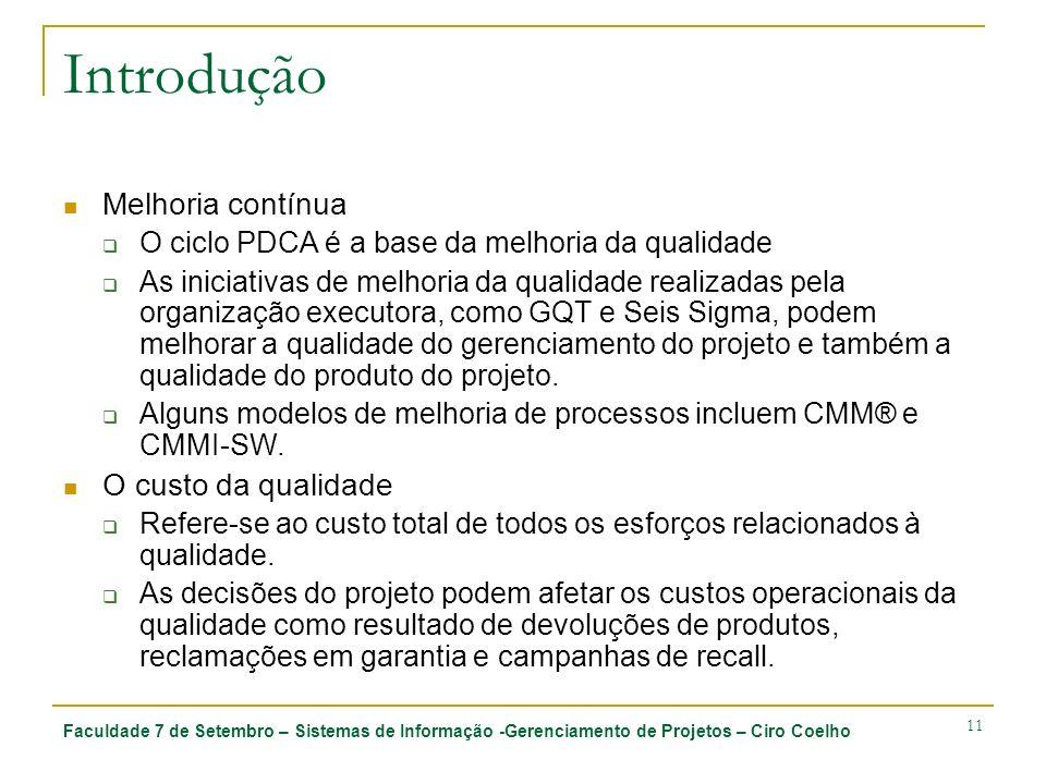 Faculdade 7 de Setembro – Sistemas de Informação -Gerenciamento de Projetos – Ciro Coelho 11 Introdução Melhoria contínua O ciclo PDCA é a base da mel