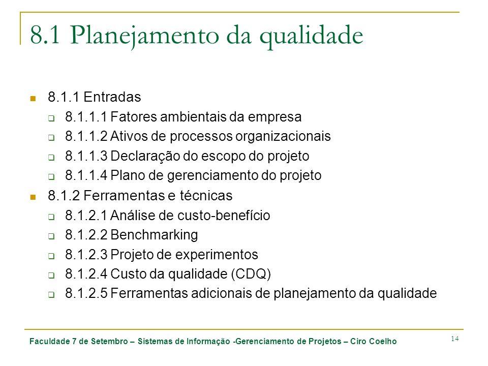 Faculdade 7 de Setembro – Sistemas de Informação -Gerenciamento de Projetos – Ciro Coelho 14 8.1 Planejamento da qualidade 8.1.1 Entradas 8.1.1.1 Fato