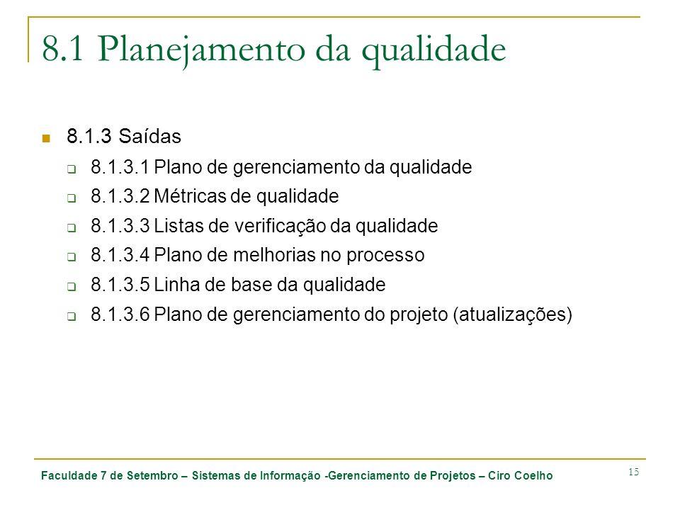 Faculdade 7 de Setembro – Sistemas de Informação -Gerenciamento de Projetos – Ciro Coelho 15 8.1 Planejamento da qualidade 8.1.3 Saídas 8.1.3.1 Plano