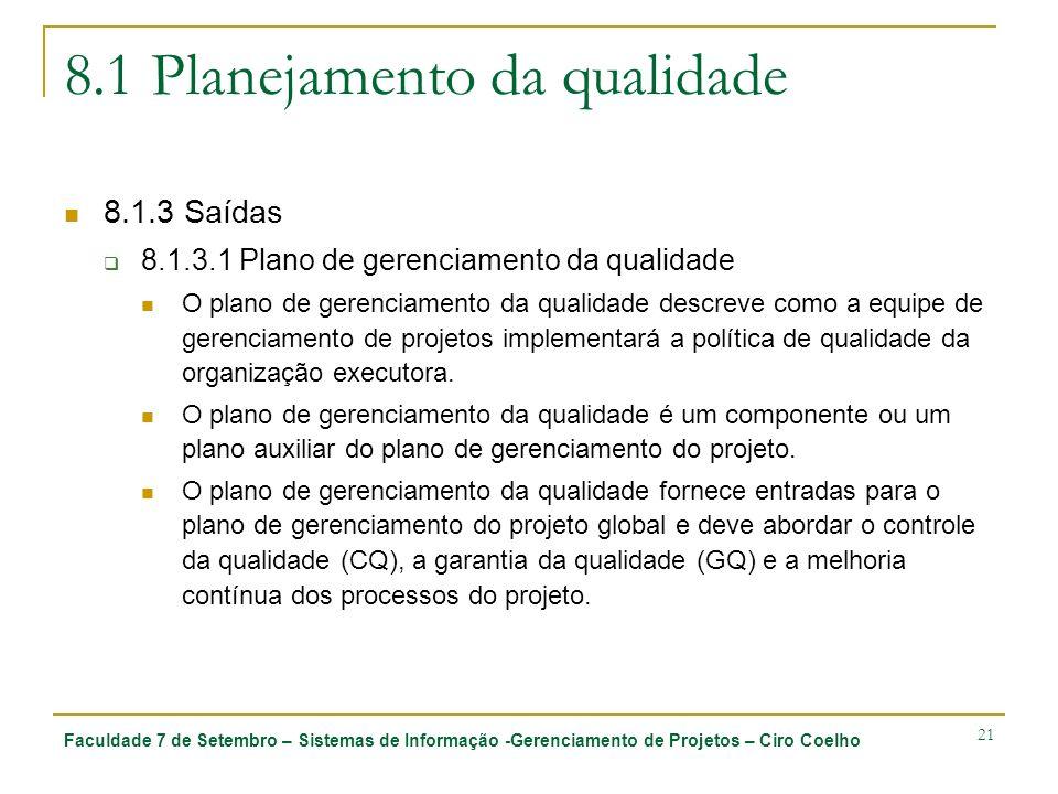 Faculdade 7 de Setembro – Sistemas de Informação -Gerenciamento de Projetos – Ciro Coelho 21 8.1 Planejamento da qualidade 8.1.3 Saídas 8.1.3.1 Plano