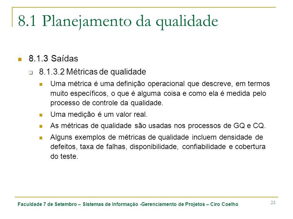 Faculdade 7 de Setembro – Sistemas de Informação -Gerenciamento de Projetos – Ciro Coelho 23 8.1 Planejamento da qualidade 8.1.3 Saídas 8.1.3.2 Métric