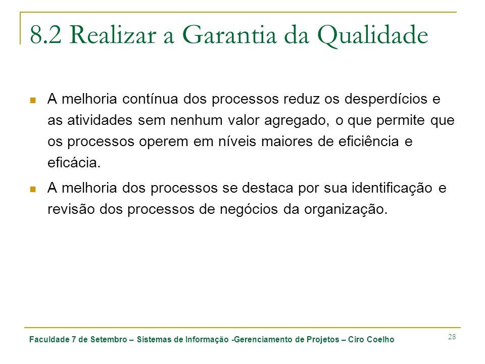 Faculdade 7 de Setembro – Sistemas de Informação -Gerenciamento de Projetos – Ciro Coelho 28 8.2 Realizar a Garantia da Qualidade A melhoria contínua