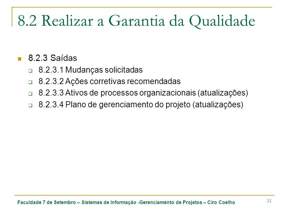 Faculdade 7 de Setembro – Sistemas de Informação -Gerenciamento de Projetos – Ciro Coelho 31 8.2 Realizar a Garantia da Qualidade 8.2.3 Saídas 8.2.3.1