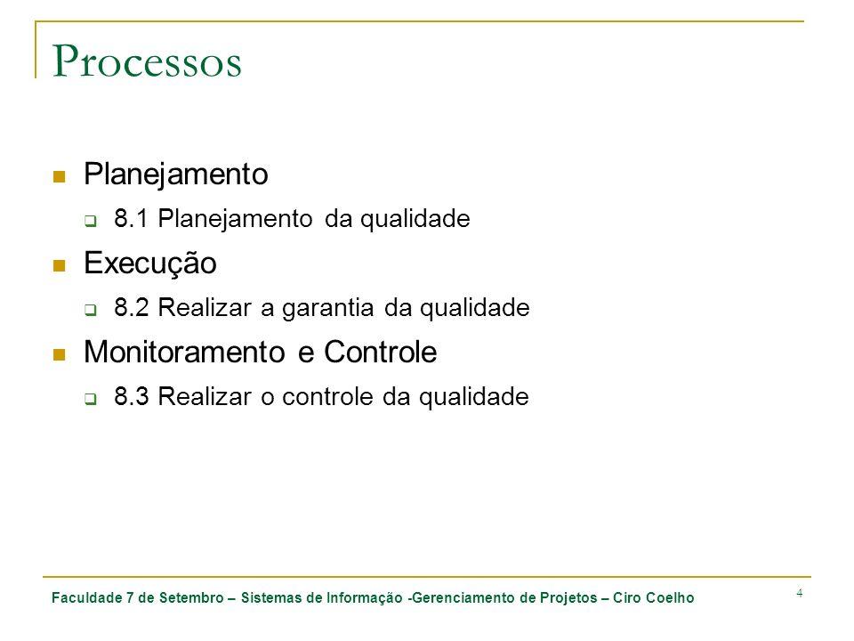 Faculdade 7 de Setembro – Sistemas de Informação -Gerenciamento de Projetos – Ciro Coelho 4 Processos Planejamento 8.1 Planejamento da qualidade Execu