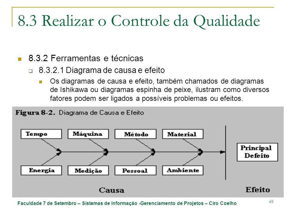 Faculdade 7 de Setembro – Sistemas de Informação -Gerenciamento de Projetos – Ciro Coelho 49 8.3 Realizar o Controle da Qualidade 8.3.2 Ferramentas e