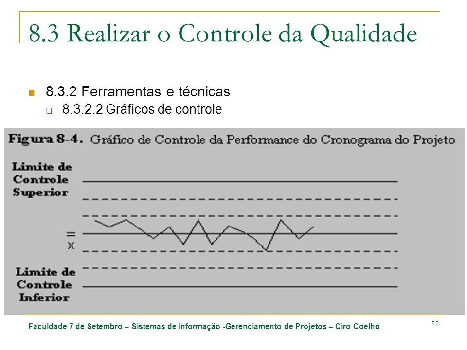 Faculdade 7 de Setembro – Sistemas de Informação -Gerenciamento de Projetos – Ciro Coelho 52 8.3 Realizar o Controle da Qualidade 8.3.2 Ferramentas e