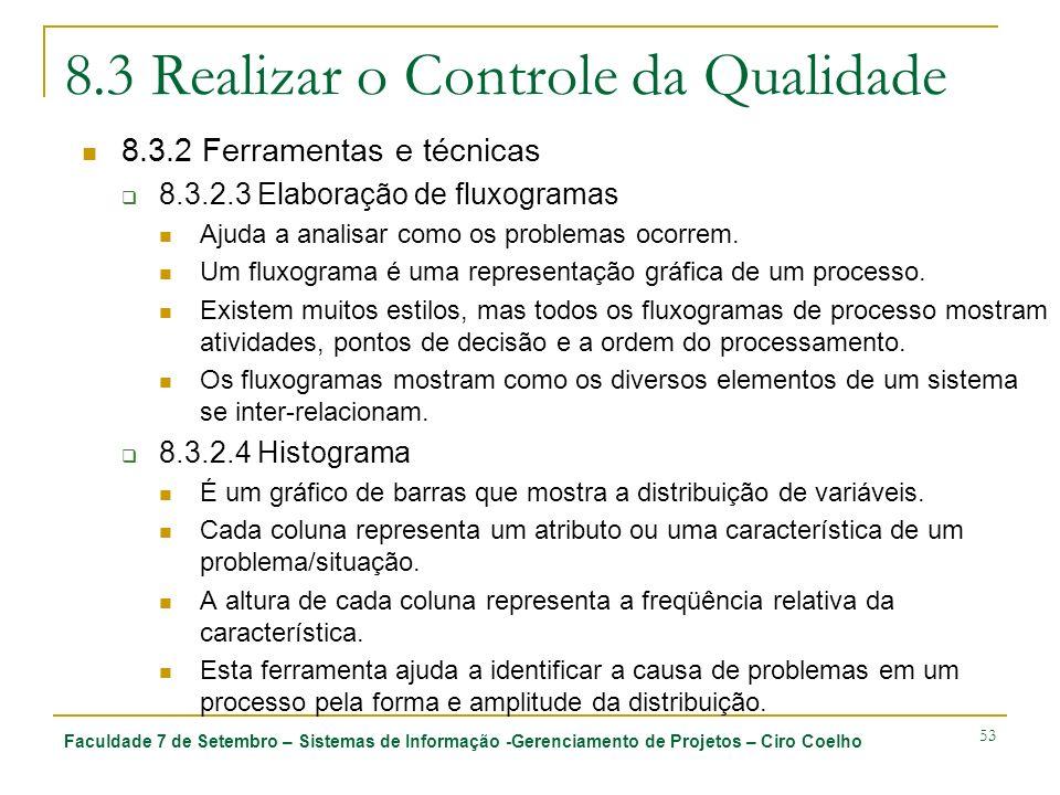 Faculdade 7 de Setembro – Sistemas de Informação -Gerenciamento de Projetos – Ciro Coelho 53 8.3 Realizar o Controle da Qualidade 8.3.2 Ferramentas e