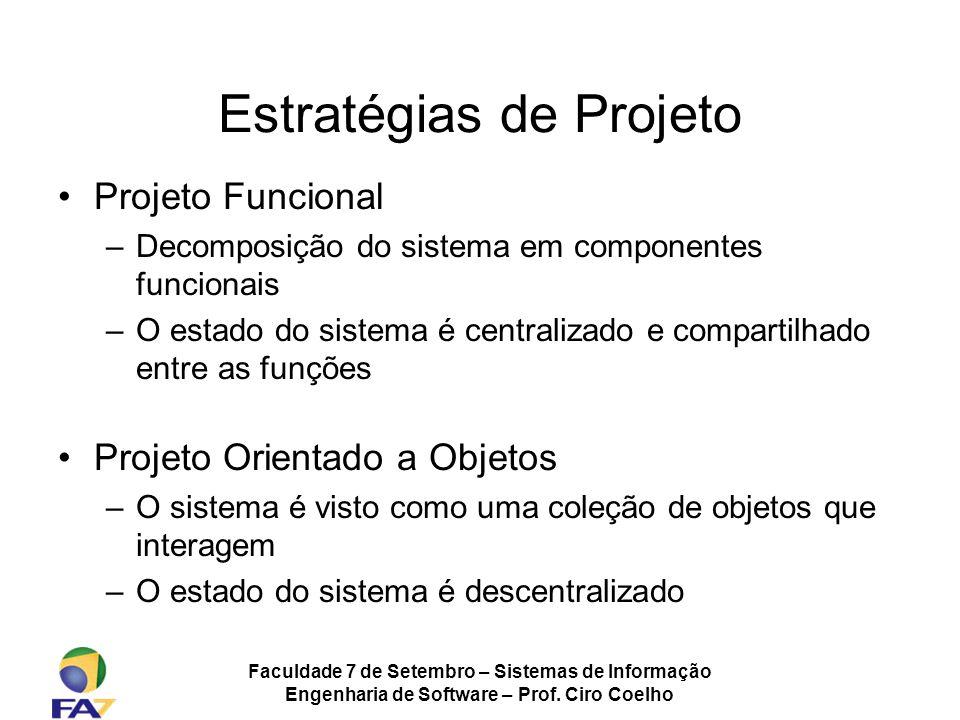 Faculdade 7 de Setembro – Sistemas de Informação Engenharia de Software – Prof. Ciro Coelho Estratégias de Projeto Projeto Funcional –Decomposição do