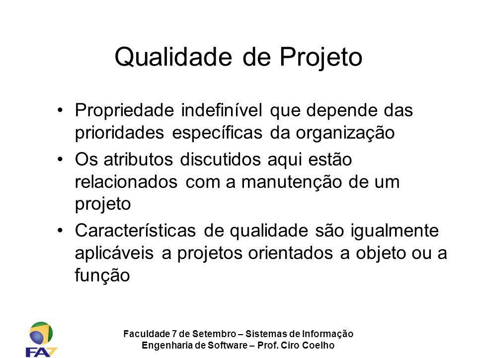 Faculdade 7 de Setembro – Sistemas de Informação Engenharia de Software – Prof. Ciro Coelho Qualidade de Projeto Propriedade indefinível que depende d