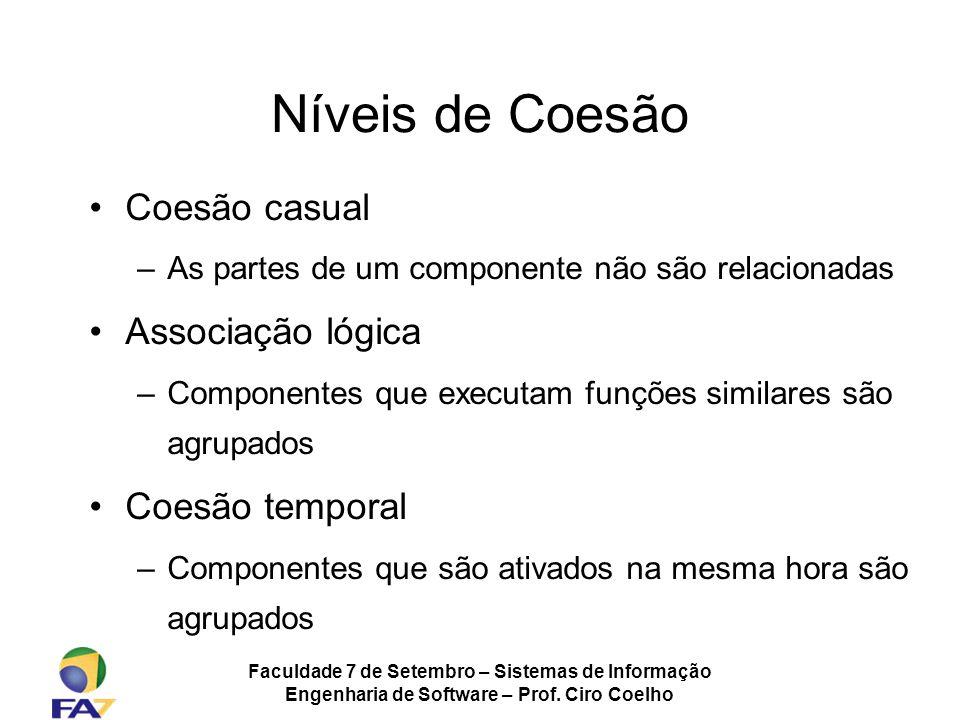 Faculdade 7 de Setembro – Sistemas de Informação Engenharia de Software – Prof. Ciro Coelho Níveis de Coesão Coesão casual –As partes de um componente