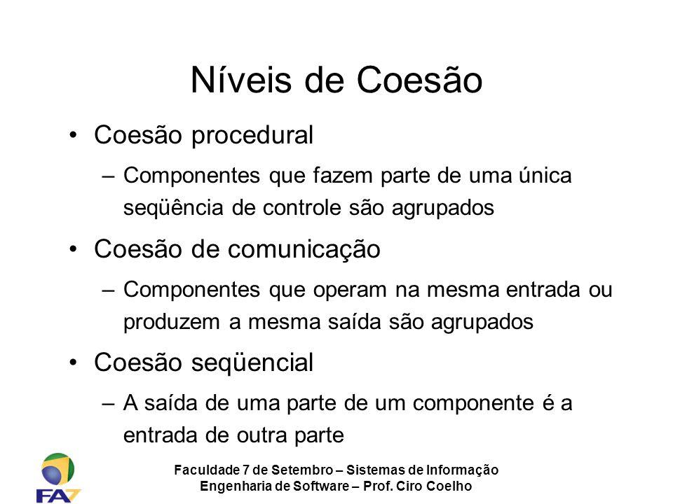 Faculdade 7 de Setembro – Sistemas de Informação Engenharia de Software – Prof. Ciro Coelho Níveis de Coesão Coesão procedural –Componentes que fazem