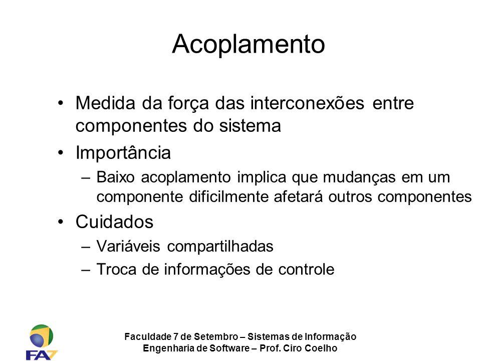 Faculdade 7 de Setembro – Sistemas de Informação Engenharia de Software – Prof. Ciro Coelho Medida da força das interconexões entre componentes do sis