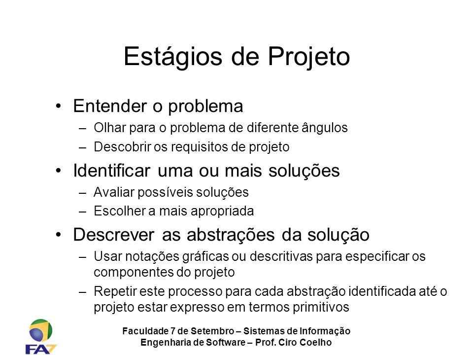 Faculdade 7 de Setembro – Sistemas de Informação Engenharia de Software – Prof. Ciro Coelho Estágios de Projeto Entender o problema –Olhar para o prob