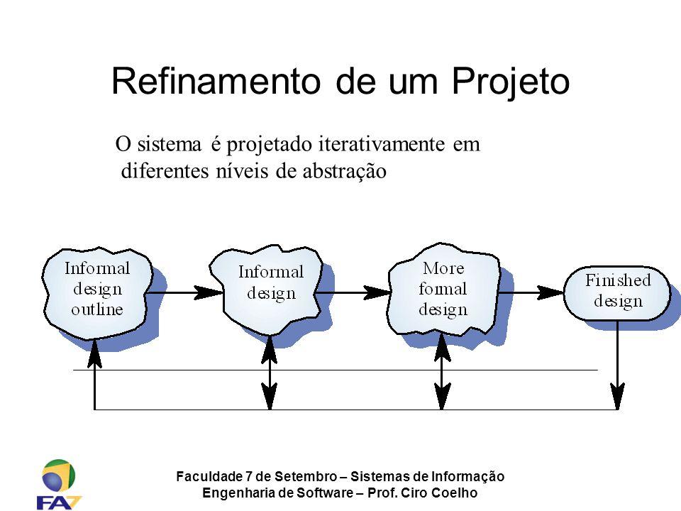 Faculdade 7 de Setembro – Sistemas de Informação Engenharia de Software – Prof. Ciro Coelho Refinamento de um Projeto O sistema é projetado iterativam