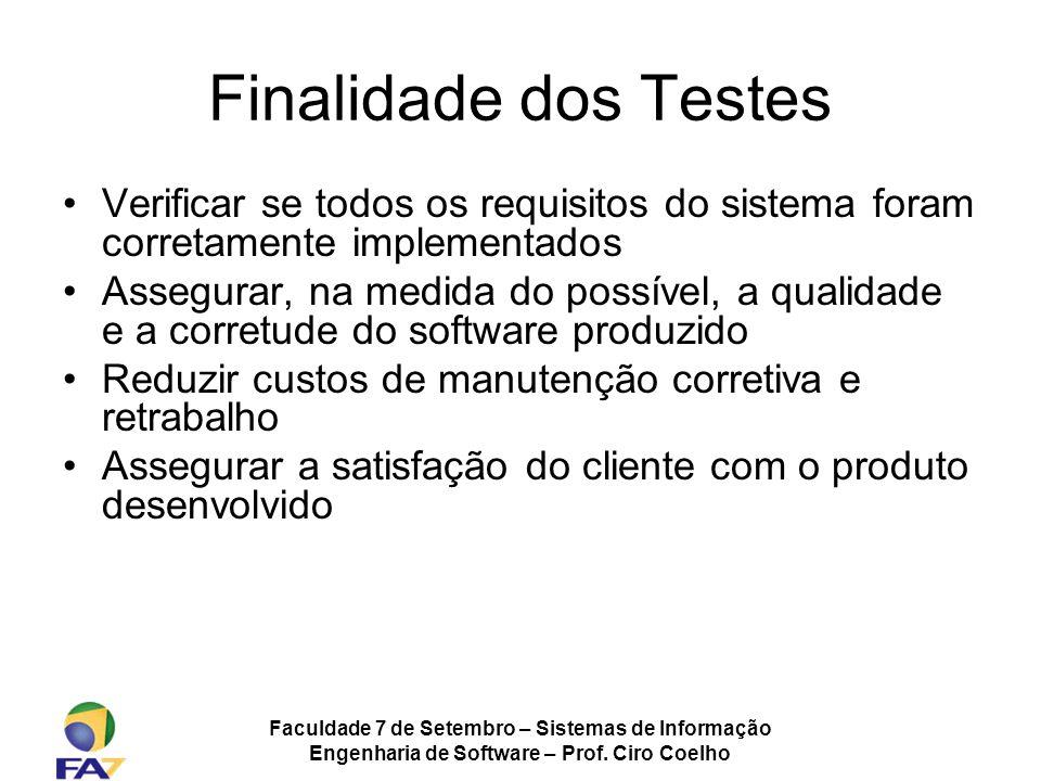 Faculdade 7 de Setembro – Sistemas de Informação Engenharia de Software – Prof. Ciro Coelho Finalidade dos Testes Verificar se todos os requisitos do