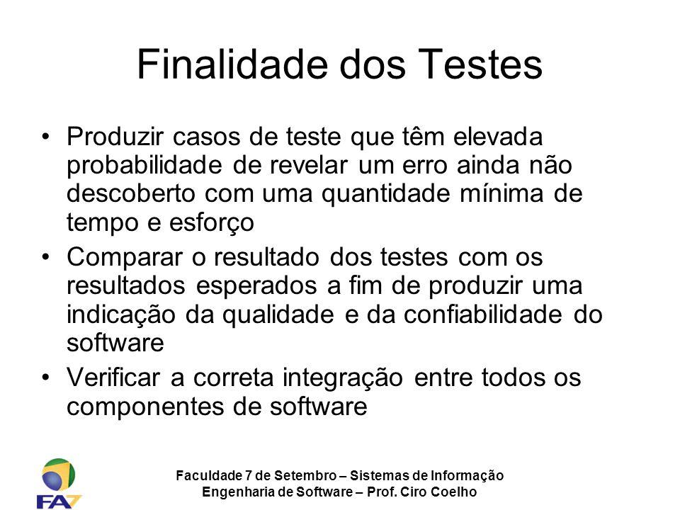 Faculdade 7 de Setembro – Sistemas de Informação Engenharia de Software – Prof. Ciro Coelho Finalidade dos Testes Produzir casos de teste que têm elev
