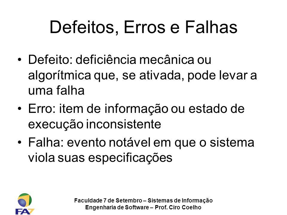 Faculdade 7 de Setembro – Sistemas de Informação Engenharia de Software – Prof. Ciro Coelho Defeitos, Erros e Falhas Defeito: deficiência mecânica ou