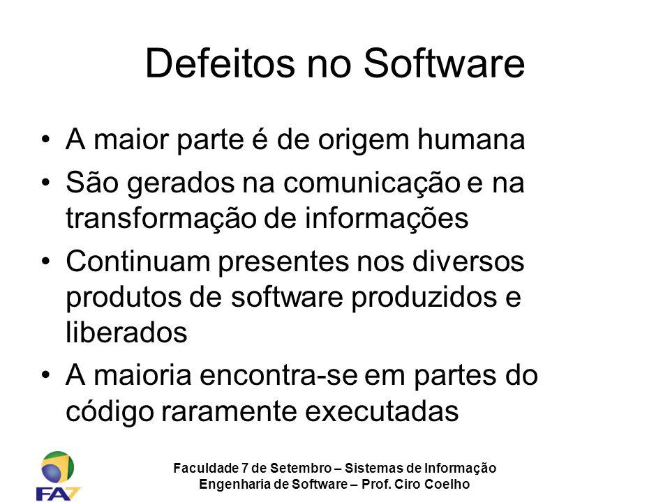 Faculdade 7 de Setembro – Sistemas de Informação Engenharia de Software – Prof. Ciro Coelho Defeitos no Software A maior parte é de origem humana São