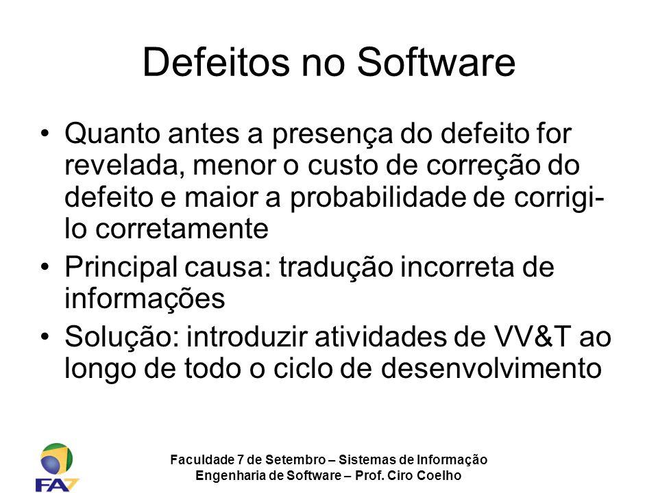 Faculdade 7 de Setembro – Sistemas de Informação Engenharia de Software – Prof. Ciro Coelho Defeitos no Software Quanto antes a presença do defeito fo