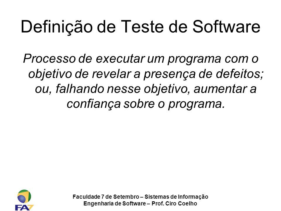 Faculdade 7 de Setembro – Sistemas de Informação Engenharia de Software – Prof. Ciro Coelho Definição de Teste de Software Processo de executar um pro