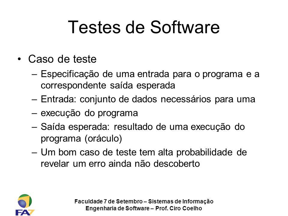 Faculdade 7 de Setembro – Sistemas de Informação Engenharia de Software – Prof. Ciro Coelho Testes de Software Caso de teste –Especificação de uma ent